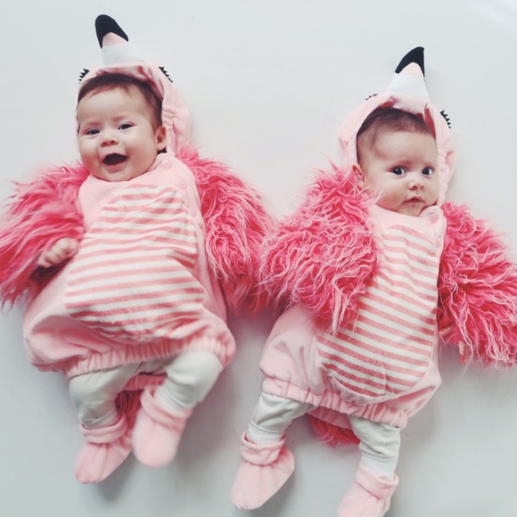 baby halloween costume flamingo twin girls